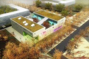 Aerial view 3d rendering cultural building