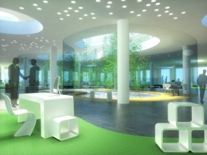 Office open space interior 3d rendering